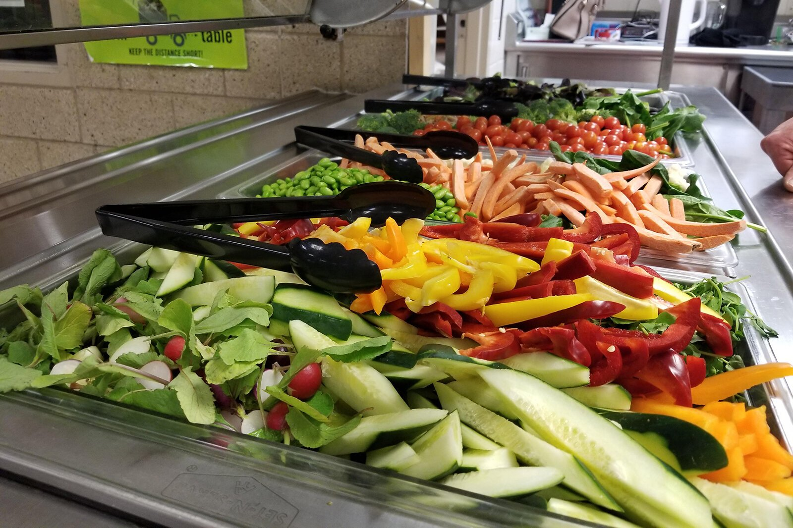 A salad bar in the cafeteria at 10 Cents a Meal grantee Boyne Falls Public School.
