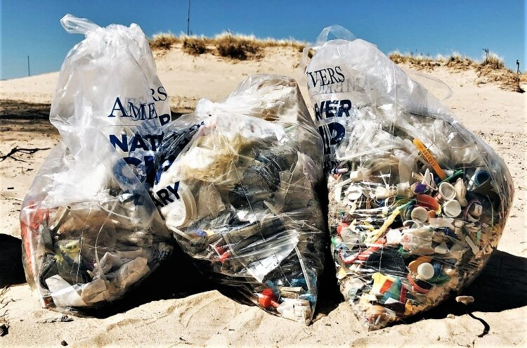 Waterfront trash typically consists of small, mostly plastic items.