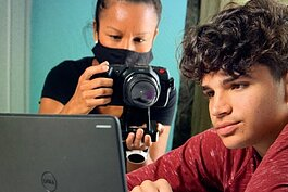 Cynthia Martinez films Daniel, a student in the TRIO Upward Bound program.