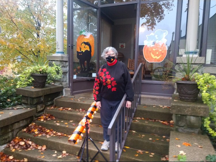 Carol Myers shows off the socially distanced, but festive Halloween tube at her 12th Street Holland home.