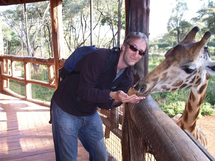 Joel Schoon-Tanis during a trip Nairobi where he used his talents to raise money for giraffe conservation.