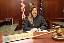 Judge Juanita Bocanegra on the bench