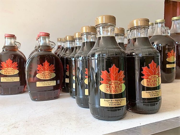 Maple syrup waiting for a new home.