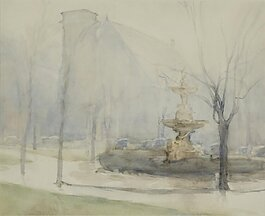 A watercolor, titled A Foggy Day, by Mathias Alten is part of the Holland Museum exhibit.
