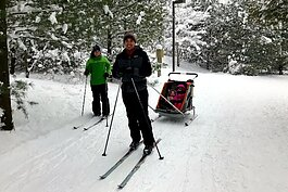 With more than 10 miles of groomed ski trails winding along the Pigeon River, Pigeon Creek Park is a popular cross-country ski destination for classic and skate skiing.