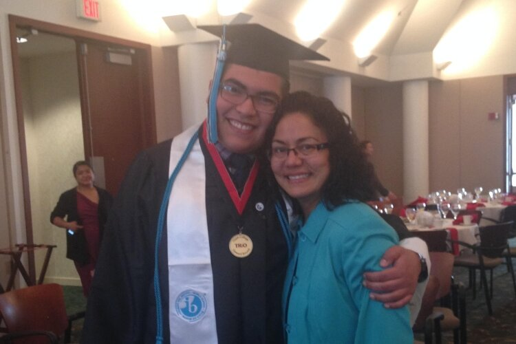 Michael Sandoval with Andrea Mireles at his TRIO Upward Bound graduation.