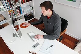 Author Luke Ferris works from home.