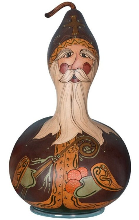 This gourd perfectly forms a miter for Julie Rossetti's St. Nicholas. She's from North Canton, Ohio.