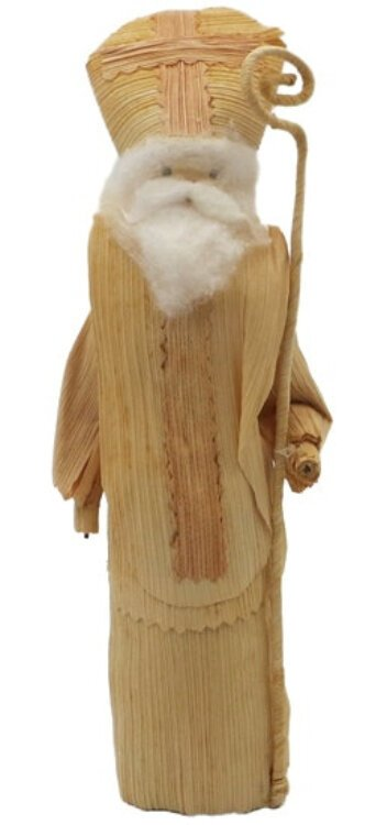 This cornhusk St. Nicholas is the very first one I found. He's from Czechoslovakia, an indication of his age!