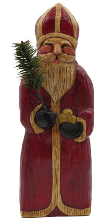 """Dutch St. Nick"" handpainted chalkware made by Ila & JoNel LeFever, Molalla, Oregon, from a wood carving by Susan Hoekstra, Corvallis, Oregon."