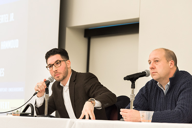 Michigan State Senator (23rd District) Curtis Hertel Jr and Michigan State Representative Abdullah Hammoud speaking at a U of M Dearborn Higher Education Panel. Photo by Doug Coombe
