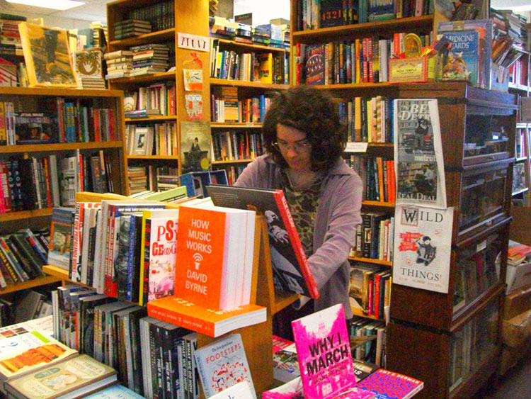 Book Beat bookseller Madelyn Etzcorn loves the shop's collection of Beat and Surrealist books.