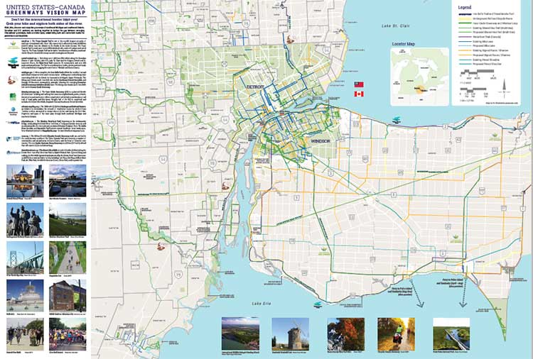 Map Of Detroit And Canada A look at the future of biking between Detroit and Canada