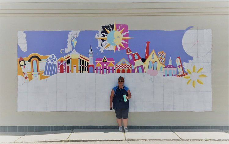 Artist MaryLou Stillwagon Stropoli and the beginnings of her mural