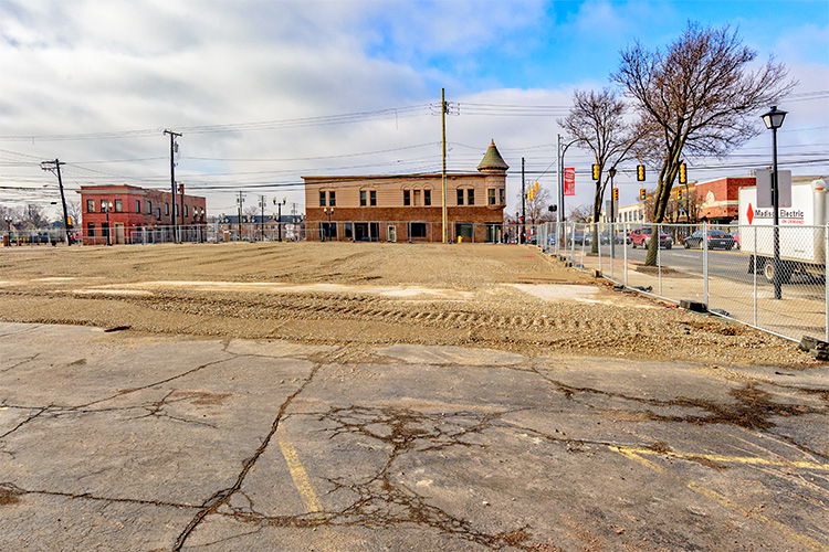 Site of future Ford mixed use development. Photo by Doug Coombe.