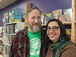 Dan and Katie Merritt at Green Brain Comics. Photo by Mike Galbraith