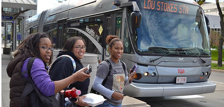 CSU, Students from Cleveland State University often ride the HealthLine to class. HealthLine vehicle turns on Public Square. Courtesy Greater Cleveland RTA.