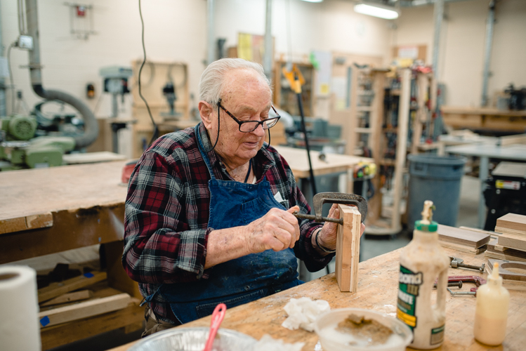 At Rochester OPC, Mike McDermott keeps busy in the wood shop.