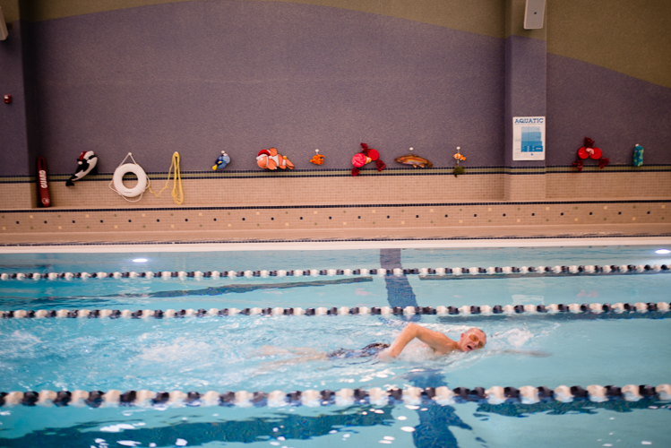 A swimmer laps at Rochester Hills OPC.