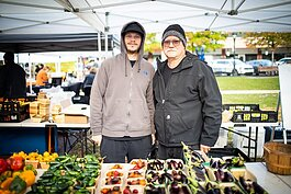 Mark and son Steve McCoy, McCoy Farms certified organic produce in Farmington.