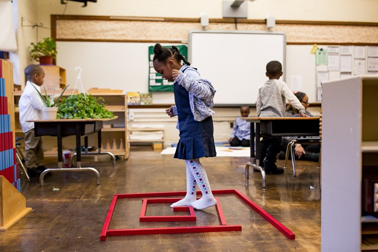 Detroit Montessori students worked together to build a labyrinth out of long, thin blocks.