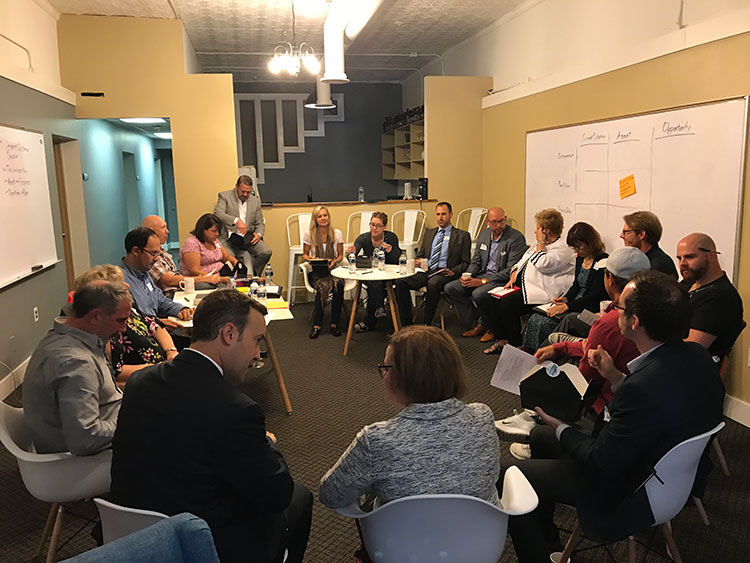 Metromode met with 14 small business owners, entrepreneurs, creatives, placemakers, local economic development officials, and nonprofit leaders at The coLABorative, a coworking space in downtown Mt. Clemens.