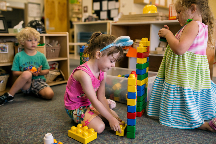 Children play at Little Oaks, Oakland County's onsite childcare center. Photo by Nick Hagen.