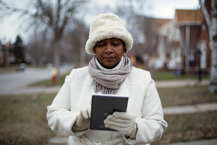 Monique Tate in the Morningside neighborhood where a mesh network is located.