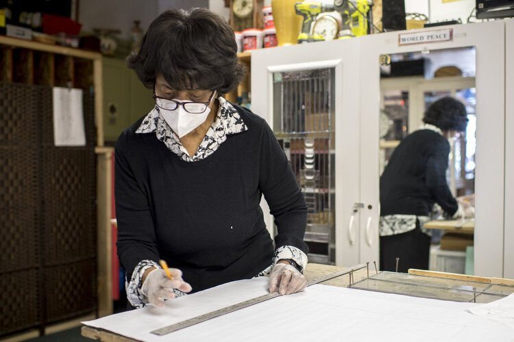 Brenda Supuwood, owner of Universal Stained Glass, in her downtown Oak Park studio.