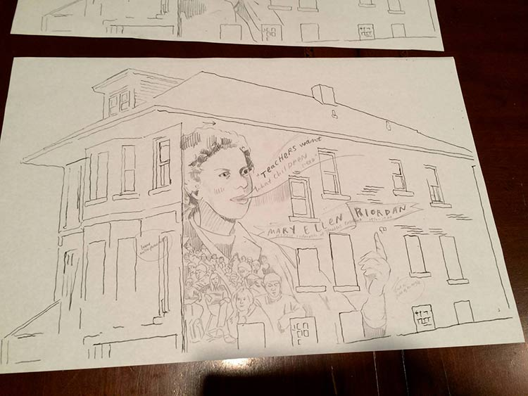Artist Nicole MacDonald's original rendition of what the Mary Ellen Riordan mural. Photo by Jon Zemke