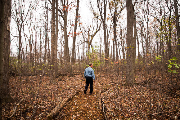 Carim Calkins in the forest on the grounds of Frost Middle School in Livonia