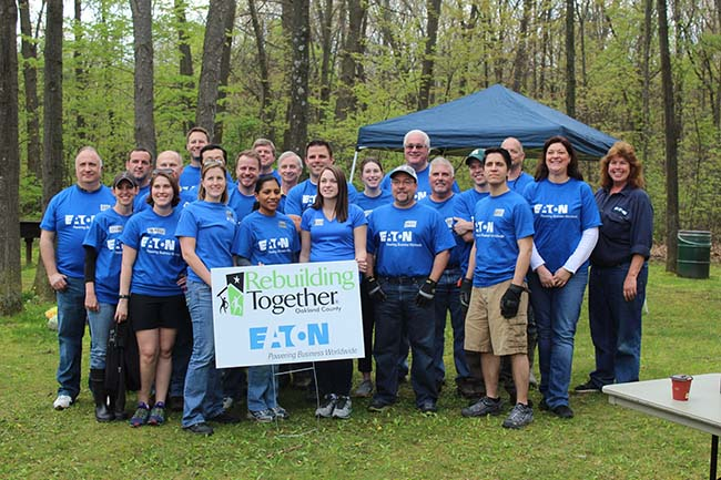 Eaton volunteers in Southfield. Photo courtesy Rebuilding Together Oakland County.
