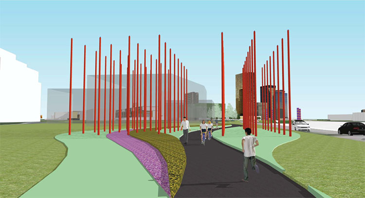 Rendering of Southfield's Red Pole park
