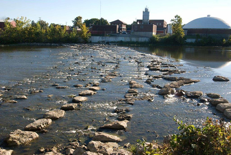 A restored rock arch in the lower RIver Raisin in the city of Monroe creates fish habitat.
