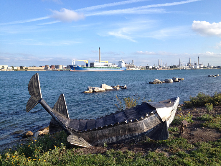Sturgeon art along the St. Clair River Walk.