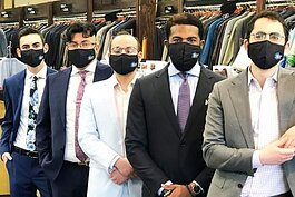 The #MichiganStrong masks at The Suit Depot