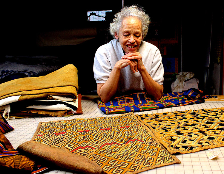 Theadra Fleming shares some of the African textiles in her collection, most of which she would not consider cutting for quilts.