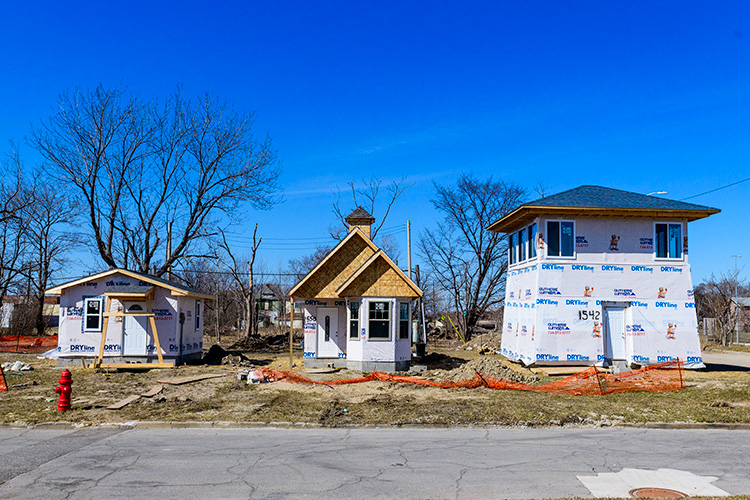 Tiny homes under construction in Detroit. Photo by Doug Coombe.