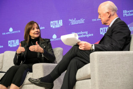 Mary Barra was interviewed by chairman of Atlantic Media David Bradley.