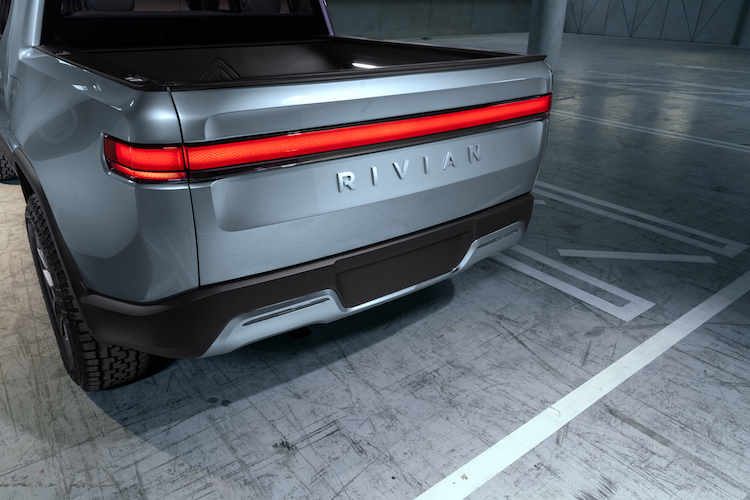 The Rivian R1T is an electric pickup truck that seats five passengers.