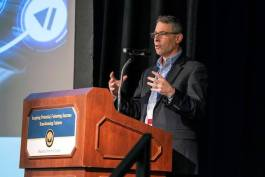 "Jeff Lowinger delivers the keynote ""Engineers for the Vehicles of Tomorrow"" at 2019 CAAT conference May 10. Photo courtesy of CAAT/Macomb Community College."