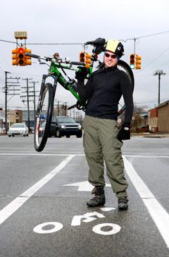 Todd Scott in a Ferndale bike lane