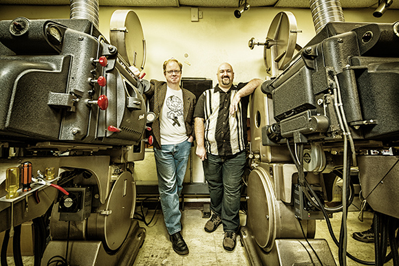 Mike White and Rob St Mary in the Redford Projection Booth