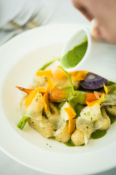 Forest Grill's Parmesan Gnocchi with Lardo and Stinging Nettle Soup