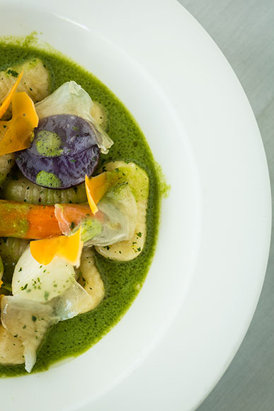 Forest Grill's Parmesan Gnocchi with Lardo and Stinging Nettle Soup 2