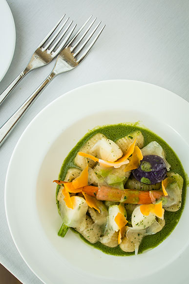Forest Grill's Parmesan Gnocchi with Lardo and Stinging Nettle Soup 3