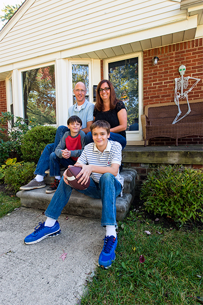 Jenny Buchman and her family at their home in Royal Oak