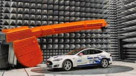 An anechoic chamber for testing antenna technology. AGC has three such chambers, including one in Ypsilanti.
