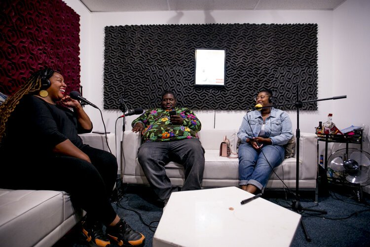 """Damsels in Detroit"" host Evann Webb (right) records an episode of her podcast at Audio Wave Network's studios on the east side of Detroit. Pictured with her are co-founders of Detroit Hives  Timothy Paule and Nicole Lindsey."