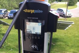 An electric vehicle charging station outside the Michigan Energy Office in Lansing.